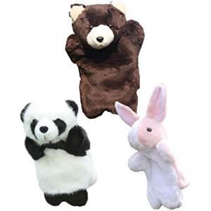 アニマル パペット ぬいぐるみ 人形 動物 オオカミ うさぎ など パンダ 黒熊 ピンク兔(パンダ ...