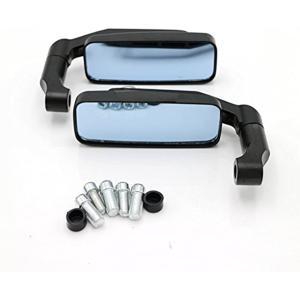 バイク ミラー スクエア型 左右セット 正ネジ 逆ネジ 8mm 10mm付属(ブラック)|zebrand-shop