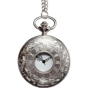 懐中時計 アンティーク レトロ クオーツ チェーン3種 蓋付き(シルバー)|zebrand-shop
