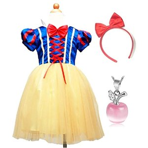 子供 コスプレ 白雪姫 ドレス 林檎のネックレスセット ハロウィン クリスマス 仮装 衣装(青110s) zebrand-shop
