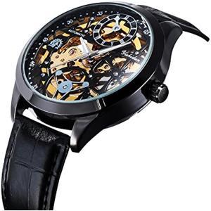 メンズ 腕時計 自動巻き 機械式 スケルトン スチームパンク 大きい ケース ギフトボックス付き[MW007-NEW-JPTW](ブラック)|zebrand-shop