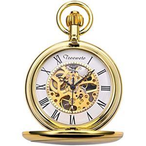 機械式 懐中時計 クラシック アンティーク スケルトン ローマ数字 ゴールド チェーン付き[HB082-DESF](ゴールド02)|zebrand-shop