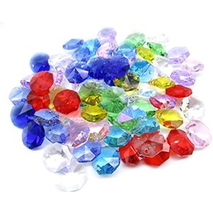 1つ穴 八角 クリスタル ガラス ビーズ 14 mm 手作り サンキャッチャー 材料 パーツ 色付き 70 個 セット(MIX)|zebrand-shop