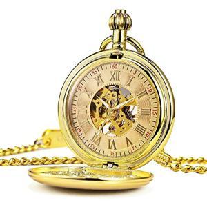 機械式 懐中時計 クラシック アンティーク スケルトン ローマ数字 ゴールド チェーン付き[HB057-DESF](ゴールド01)|zebrand-shop