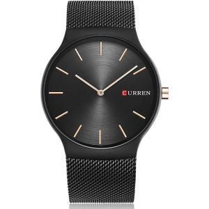 メンズ 腕時計 ファッション スリム アナログ クオーツ ブラック ステンレス メッシュ バンド[CR-EN-005-UKSF]|zebrand-shop