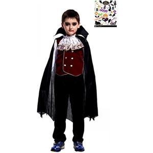 ヴァンパイアプリンス キッズコスチューム ハロウィン ペイントシール 付き 2点セット 男の子 M(黒、赤、, M(110cm-120cm)) zebrand-shop