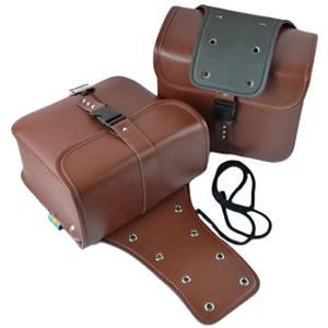 バイク 用 サイドバッグ 大容量 収納 高品質 2個 セット 防水 ツールバッグ 旅行 ツーリング(ブラウン)|zebrand-shop