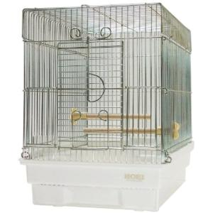 窓が手前に大きく開き、小鳥が出入りしやすい手のりの小鳥用ケージです。  エサ入れはエサの飛び散りをよ...