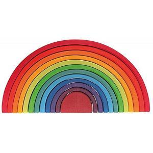 虹色の積み木で知られた、ドイツ、グリムス社。 こちらはきれいな丸いアーチの積み木11ピースと半円積み...