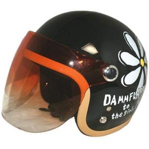 バイクヘルメット ジェット フラワー P BK レディースサイズ 57CM〜58CM[FLOWERJET](ブラック) zebrand-shop