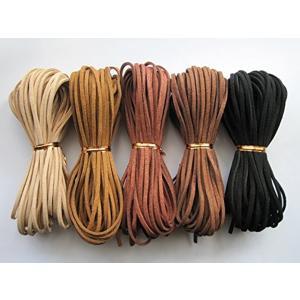 「1m50本セット」 スエード 革ひも 皮ひも 5色×10本 オリジナル アクセサリー チョーカー 皮紐(5色×10本「1m50本セット」)|zebrand-shop