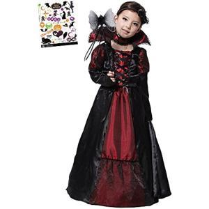 ヴァンパイア プリンセス ハロウィン ペイントシール付き 2点セット キッズコスチューム 女の子 M(黒、赤, M(110cm-120cm)) zebrand-shop