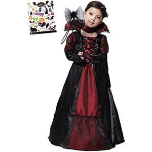 ヴァンパイア プリンセス ハロウィン タトーシール付き 2点セット キッズコスチューム 女の子(黒、赤, XL(130cm-140cm)) zebrand-shop