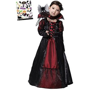 ヴァンパイア プリンセス ハロウィン タトーシール付き 2点セット キッズコスチューム 女の子 L(黒、赤, L(120cm-130cm)) zebrand-shop