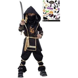 黒装束 本格 忍者 キッズコスチューム ハロウィン ボディシール付き 2点セット 男の子 S466 L(黒L(120cm-130cm)) zebrand-shop