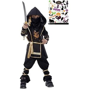 黒装束 本格 忍者 キッズコスチューム ハロウィンボディシール付き 2点セット 男の子 S466 XL(黒XL(130cm-140cm)) zebrand-shop
