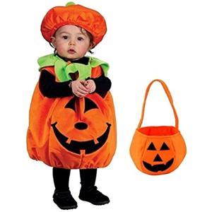 「かぼちゃバッグ付き」 ハロウィン パンプキン キッズコスチューム 男女共用 S544 L(オレンジ, L(100cm-110cm)) zebrand-shop