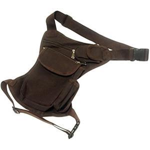 腿にベストフィット。 ウェストポーチ 腿用 バッグ 多機能 ブラウン 茶(ブラウン 茶)|zebrand-shop