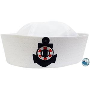 白い セーラー帽 水兵 帽子 海軍 ハット くじらピンバッジ付き なりきり2点セット S208 タイプB(タイプB 大人用58cm) zebrand-shop