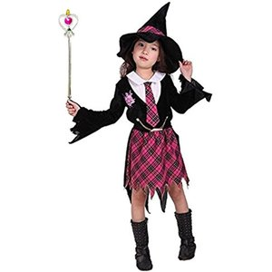 ハロウィン 衣装 魔法学園 かわいい 魔女っ子 キッズコスチューム 女の子 チェック柄(Mサイズ (身長110〜120cm), Mサイズ) zebrand-shop