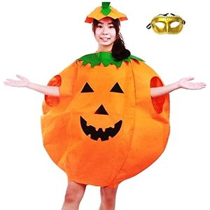 まるごと かぼちゃ 衣装 パンプキン ハロウィン ファニーな 3点セット ポンチョ+帽子+ベネチアンマスク 大人用(オレンジ, フリーサイズ) zebrand-shop