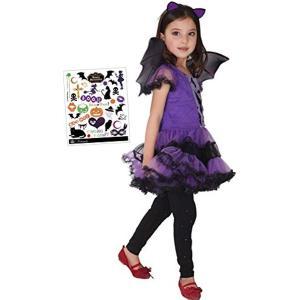 コスチューム ヴァンパイアガール4点セット ドレス+カチューシャ+ 羽根+ペイントシール S233 XLサイズ(紫130cm - 140cm) zebrand-shop