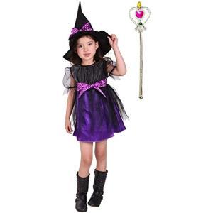 魔女っ子衣装3点セット ドレス、帽子、ハートのステッキ ハロウィン 魔法使い ウィッチ(黒、紫, Lサイズ (身長120〜130cm)) zebrand-shop