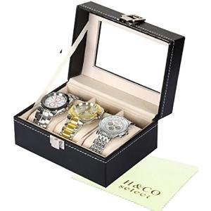 「H&Co.select」腕時計 収納 ケース ウォッチ コレクションボックス レザー(ブラック, 3本用)|zebrand-shop