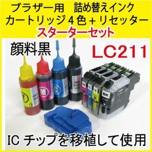 ブラザー用(LC211対応)詰め替えインク(4色)(互換、リセッター付)(V2.0)