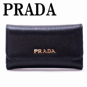 プラダ PRADA キーケース 6連 VITELLO MOVE NERO 黒 LACCA レッド系 レディース 1PG222-2BNC-F0TMH|zeitakuya