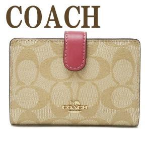 コーチ COACH 財布 レディース 二つ折り財布 シグネチャー レザー ピンク 23553IMP4J|zeitakuya