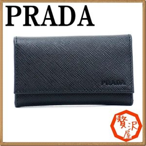 プラダ キーケース PRADA キーリング 6連 NERO 黒 サフィアーノレザー 2PG222-PN9-F0002|zeitakuya
