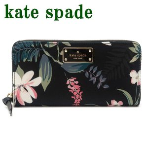 ケイトスペード Kate Spade 財布 長財布 レディース 花柄 ラウンドファスナー WLRU5302-098|zeitakuya