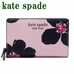 ケイトスペード KateSpade 財布 二つ折り財布 サフィアーノ レザー ピンク 花 フローラル WLRU6133-677|zeitakuya