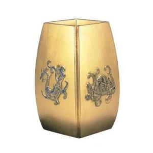 高岡銅器 合金製花瓶 四神獣 金色 風水花瓶 107-06 日本製 花 植物