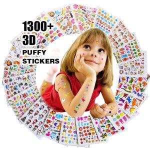 RENOOK 子供&幼児シールふわふわシールかわいい海外デザイン大量の20枚入り1300個以上3Dテッカー 手帳日記 知育 褒美用 アニメ、|zembuzembu