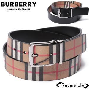 バーバリー BURBERRY ベルト リバーシブル レザー ヴィンテージチェック ロゴ ブランド メンズ プリント BB40748261S9|zen