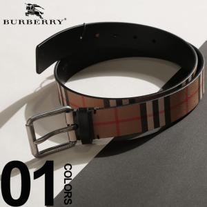 バーバリー BURBERRY ベルト レザー ヴィンテージチェック ブランド メンズ プリント ロゴ ピンバックル BB40748241S9|zen