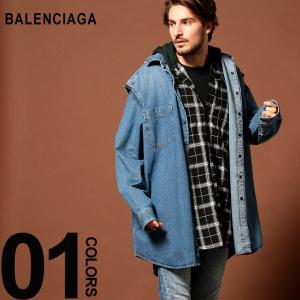 バレンシアガ BALENCIAGA シャツ 長袖 チェック デニム パーカー レイヤード デニムシャツ TWIN SET HOODIE ブランド メンズ BC557356TAP20|zen
