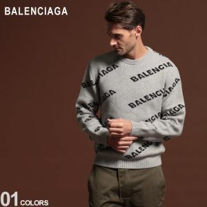バレンシアガ メンズ ニット BALENCIAGA セーター ロゴ 総柄 ウール クルーネック GRAY ブランド トップス プルオーバー BC555481T1471 zen