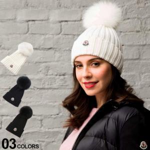 【無料クリスマスラッピング対象】 モンクレール MONCLER ニットキャップ リアルファー ポンポン ニット帽 ブランド レディース 帽子 ウール MCL002190003510|zen
