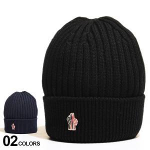 モンクレールグルノーブル メンズ ニットキャップ MONCLER GRENOBLE ウール100% ロゴ リブニット ブランド 帽子 ビーニー ウール MCGN3B70004761 zen