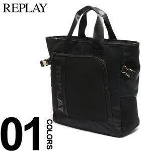 リプレイ REPLAY トートバッグ ロゴプリント ブランド メンズ レディース バッグ カモフラ ジップポケット ブラック FM3281 bag|zen