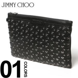 ジミーチュウ JIMMY CHOO レザー スター スタッズ ラウンドジップ クラッチバッグ JCDEREKBLS7 メンズ レディース ブランド zen