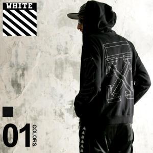オフホワイト Off-White パーカー スウェット プリント フルジップ DIAG 3D LINE ブランド メンズ ジップパーカー バックプリント 袖プリント OWBB33E18192002 zen