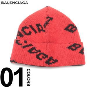 バレンシアガ BALENCIAGA ニットキャップ ロゴ総柄 ニット帽 ブランド メンズ レディース ビーニー 帽子 ウール BC542603T1473|zen