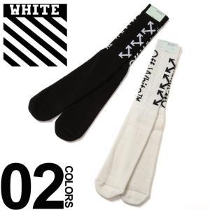 オフホワイト OFF-WHITE ソックス ロゴ ハイソックス ARROWS SOCKS ブランド メンズ ロングソックス 靴下 OWRA01R19120031|zen