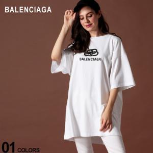 バレンシアガ レディース BALENCIAGA Tシャツ 半袖 ロゴ プリント クルーネック ビッグシルエット NEW BB LOGO ブランド トップス BCL583218TFV65 zen