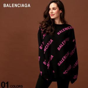 バレンシアガ BALENCIAGA ニット セーター ロゴ 総柄 クルーネック コットンニット ウール混 長袖 ブランド レディース トップス BCL570822T3153 zen