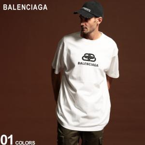バレンシアガ メンズ Tシャツ BALENCIAGA BB ロゴ プリント クルーネック 半袖 ブラ...